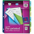 Avery&reg Plastic Pre-printed Tab Dividers with Pockets