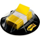 Post-it Flags in Desk Grip Dispenser, Yellow, 1 in. Wide