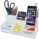 Victor W9525 Pure White Desk Organizer with Smart Phone Holder™