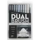 Tombow Dual Brush Art Pen 10-piece Set - Grayscale Colours
