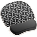 Fellowes Photo Gel Mouse Pad Wrist Rest with Microban® - Black Chevron