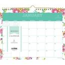 Blue Sky Day Designer White Floral Wall Calendar