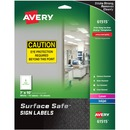 "Avery® Surface Safe(R) Sign Labels, 7"" x 10"", Removable Adhesive, Water & Chemical Resistant, 15 Labels (61515)"