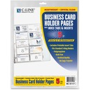 C-Line Business Card Holder Pages with Index Tabs for Ring Binders, Poly