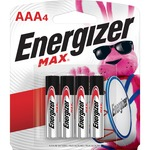 Energizer MAX Alkaline AAA Batteries, 4 Pack - For Multipurpose - AAA - 1.5 V DC - Alkaline - 4 / Pack EVEE92BP4