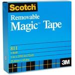 "3M Scotch Magic Transparent Tape - 0.75"" (19 mm) Width x 36 yd (32.9 m) Length - 1"" Core - Photo-safe, Non-yellowing, Removable, Writable Surface, Split Resistant, Tear Resistant, Repositionable - 1 Each"