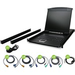 "Iogear 16-Port 19"" LCD KVM Drawer Kit with PS/2 and USB KVM Cables"