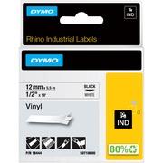 US STOCK 6PK Black on White Industrial Vinyl Label 18444 for Dymo Rhino 12mm