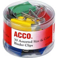 ACCO Binder Clips Assorted Sizes Colors 30Pack ACC71130
