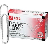 ACCO Economy 1 Paper Clips Non skid Finish 1 Size 1 932inch 100Bo ACC72385