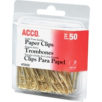 ACCO Gold Tone Clips Smooth Finish Jumbo Size 50Box ACC72532