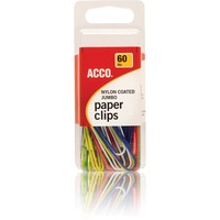 ACCO Nylon Paper Clips Smooth Finish Jumbo Size Assorted Colors 6 SWI71748