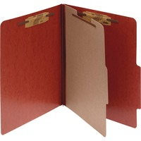 ACCO PRESSTEX 4 Part Classification Folders Letter Red Box of 10 ACC15004