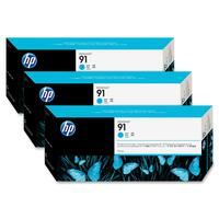 HP No. 91 Ink Cartridge, 3 pack - Cyan - C9483A