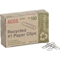 ACCO Recycled Paper Clips Smooth Finish 1 Size 100Box ACC72365
