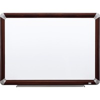 3M Prem Porcelain Mahogany Frame Dry erase Boards MMMP4836FMY