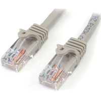 StarTech.com 1 ft Gray Snagless Cat5e UTP Patch Cable - Category 5e - 1 ft - 1 x RJ-45 Male Network - 1 x RJ-45 Male Network - Gold-plated Connectors - Gray