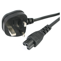 StarTech.com 6 ft Laptop Power Cord - 3 Slot for UK - 230 V AC - Black