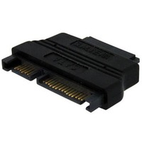 StarTech.com Slimline SATA to SATA Adapter with Power - F/M - 1 x Male SATA - 1 x Female SATA - Black