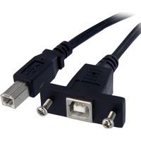 StarTech.com 1 ft Panel Mount USB Cable B to B - F/M - 1 x Type B Male USB - 1 x Type B Female USB - Black