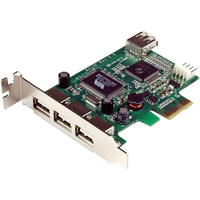 StarTech.com 4 Port PCI Express Low Profile High Speed USB Card - 3 x 4-pin Type A Female USB 2.0 USB External