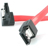 StarTech.com 12in Latching SATA to Right Angle SATA Serial ATA Cable - Male SATA - Male SATA - 12 - Red