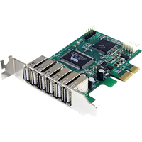 StarTech.com 7 Port PCI Express Low Profile High Speed USB 2.0 Adapter Card - 6 x Type A Female USB 2.0 USB External