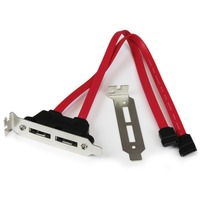 StarTech.com 2 Port Low Profile SATA to eSATA Plate Adapter - SATA for Hard Drive - 1 Pack - 1 x SATA - 1 x eSATA - Red