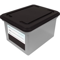 Advantus Clear Base File Tote with Lid and Label AVT55802