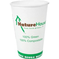 Compostable Live-Green Art Hot Cups, 10oz, White, 50/Pack C010