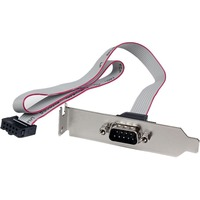 StarTech.com 1 Port 16in DB9 Serial Port Bracket to 10 Pin Header - Low Profile - 1 x DB-9 Male Serial - 1 x IDC Female - Gray