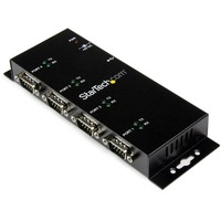 StarTech.com 4 Port USB to DB9 RS232 Serial Adapter Hub - Industrial DIN Rail and Wall Mountable