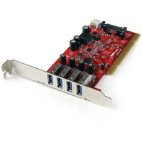 StarTech.com 4 Port PCI SuperSpeed USB 3.0 Adapter Card with SATA/SP4 Power - 4 Total USB Port(s) - 4 USB 3.0 Port(s)