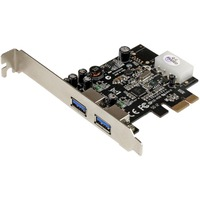 StarTech.com 2 Port PCI Express (PCIe) SuperSpeed USB 3.0 Card Adapter with UASP - LP4 Power - 2 Total USB Port(s) - 2 USB 3.0 Port(s)