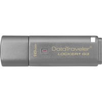 Kingston DataTraveler Locker+ G3 16 GB USB 3.0 Flash Drive - Silver - 1 Pack
