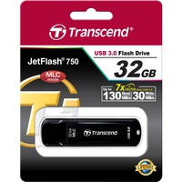 Transcend JetFlash 750 32 GB USB 3.0 Flash Drive - Black