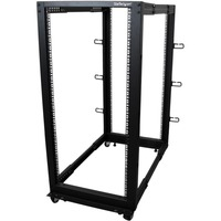 StarTech.com 25U Adjustable Depth Open Frame 4 Post Server Rack w/ Casters / Levelers and Cable Management Hooks - Steel - 545.63 kg x Maximum Weight Capacity - 544.