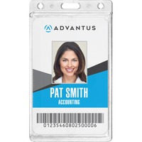 Advantus Frosted Vertical Rigid ID Holder AVT76076