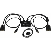 StarTech.com 2 Port USB VGA Cable KVM Switch - USB Powered with Remote Switch - 2 Computers - 1 Local Users
