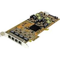 StarTech.com 4 Port Gigabit Power over Ethernet PCIe Network Card - PSE / PoE PCI Express NIC - PCI Express x4 - 4 Port(s) - 4 - Twisted Pair