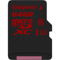 Kingston 64 GB microSDXC - Class 3/UHS-I - 90 MB/s Read - 80 MB/s Write - 1 Card/1 Pack