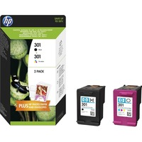 HP 301 Ink Cartridge - Black, Cyan, Magenta, Yellow - Inkjet - High Yield - 190 Page Black, 165 Page Tri-colour - 2 / Pack