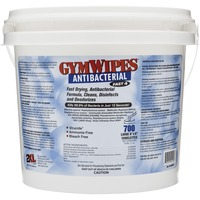 "GymWipes Antibacterial Towelettes are an easy, hygienic way to lower the risk of infection and cross-contamination. Perfect for controlling and eliminating organisms on high-traffic surfaces that people come into contact with every day, they sanitize surfaces and kill 99 percent of bacteria in 15 seconds. EPA-registered disinfectant wipes work well on acrylics. Once applied, the formula dries fast. They are alcohol-free, bleach-free and phenol-free. Each extra-thick, super-absorbent wipe measures 8"" x 6"". Disposable wipes come in a convenient, refillable plastic bucket."