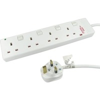 NEWlink Power Strip - 4 x AC Power - 5 m Cord - 13 A Current - White