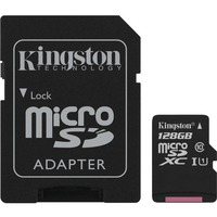 Kingston Canvas Select 128 GB Class 10/UHS-I (U1) microSDXC - 80 MB/s Read - 10 MB/s Write