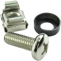 Cables Direct Bolt, Washer - Bolt, Washer, Cage Nut - Pozidriv - Plastic, Steel - Brushed Steel - 1Pack