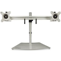 StarTech.com Dual-Monitor Stand - Horizontal - For up to 24inch VESA Mount Monitors - Silver - Adjustable Computer Monitor Stand for Desk - Steel And Aluminum - Up to 61