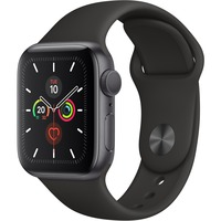 Apple Watch Series 5 Smart Watch - Wrist Wearable - Space Gray Aluminum Case - Black Band - Aluminium Case