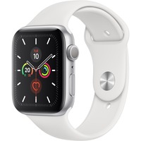 Apple Watch Series 5 Smart Watch - Wrist Wearable - Silver Aluminum Case - White Band - Aluminium Case