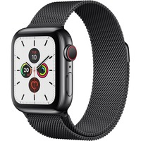 Apple Watch Series 5 Smart Watch - Wrist Wearable - Space Black Case - Space Black Band - Stainless Steel Case - Cellular Phone Capability - LTE, UMTS